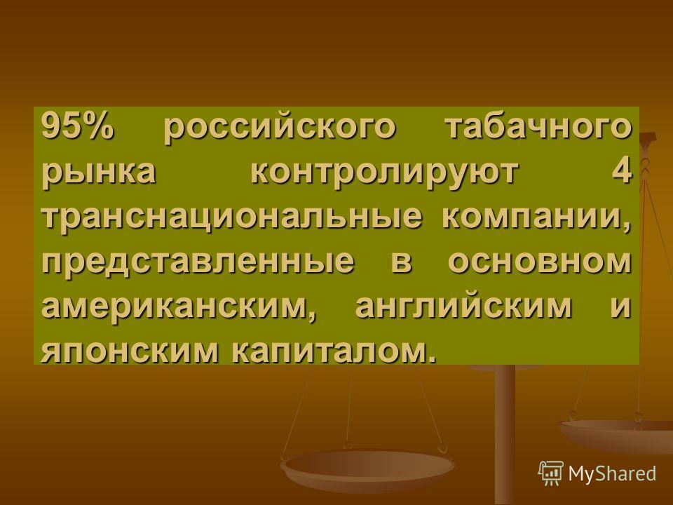 95% российского табачного рынка контролируют 4 транснациональные компании, представленные в основном американским, английским и японским капиталом.