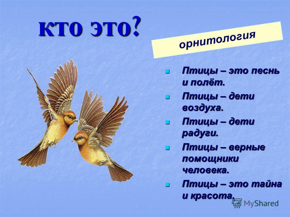кто это ? Птицы – это песнь и полёт. Птицы – это песнь и полёт. Птицы – дети воздуха. Птицы – дети воздуха. Птицы – дети радуги. Птицы – дети радуги. Птицы – верные помощники человека. Птицы – верные помощники человека. Птицы – это тайна и красота. П