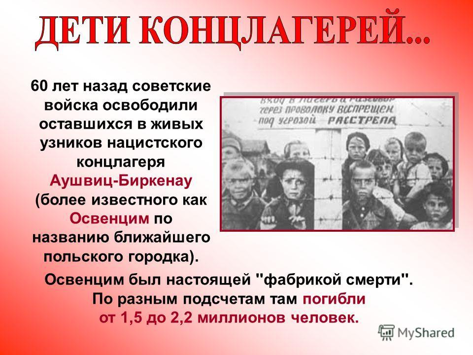 60 лет назад советские войска освободили оставшихся в живых узников нацистского концлагеря Аушвиц-Биркенау (более известного как Освенцим по названию ближайшего польского городка). Освенцим был настоящей ''фабрикой смерти''. По разным подсчетам там п