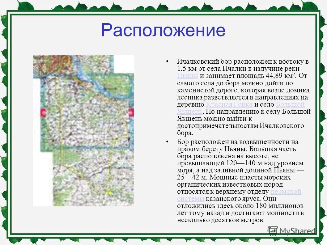 Расположение Ичалковский бор расположен к востоку в 1,5 км от села Ичалки в излучине реки Пьяны и занимает площадь 44,89 км². От самого села до бора можно дойти по каменистой дороге, которая возле домика лесника разветвляется в направлениях на деревн