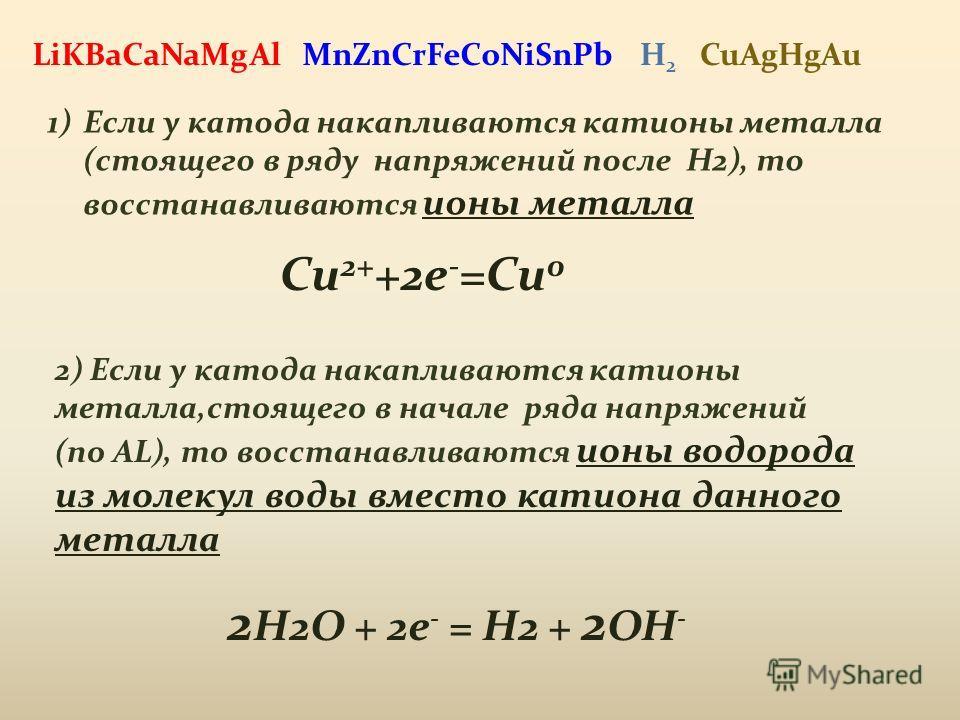 MnZnCrFeCoNiSnPb 1)Если у катода накапливаются катионы металла (стоящего в ряду напряжений после H2), то восстанавливаются ионы металла Cu 2+ +2e - =Cu 0 2) Если у катода накапливаются катионы металла,стоящего в начале ряда напряжений (по AL), то вос