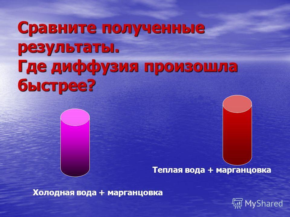 Сравните полученные результаты. Где диффузия произошла быстрее? Холодная вода + марганцовка Теплая вода + марганцовка