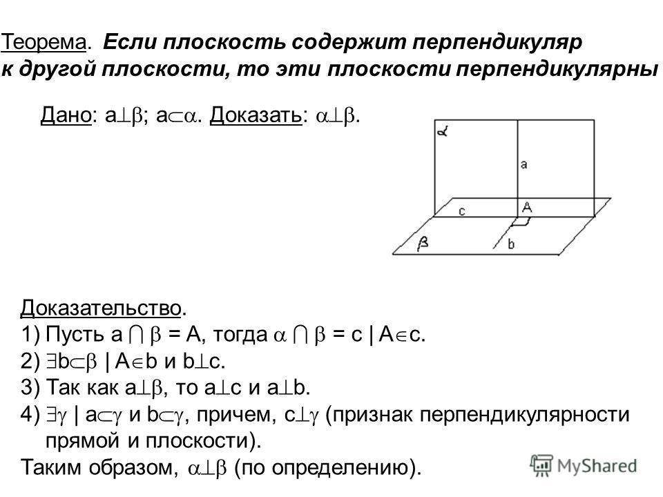 . Рис. 6 Теорема. Если плоскость содержит перпендикуляр к другой плоскости, то эти плоскости перпендикулярны Доказательство. 1)Пусть а = A, тогда = c | A c. 2) b | A b и b c. 3) Так как а, то а с и а b. 4) | a и b, причем, с (признак перпендикулярнос