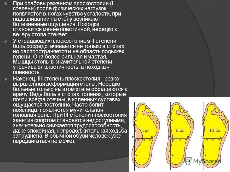 При слабовыраженном плоскостопии (I степени) после физических нагрузок появляется в ногах чувство усталости, при надавливании на стопу возникают болезненные ощущения. Походка становится менее пластичной, нередко к вечеру стопа отекает. У страдающих п
