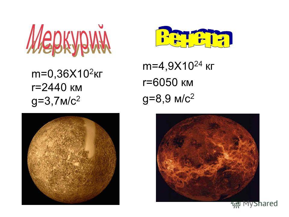 m=4,9X10 24 кг r=6050 км g=8,9 м/с 2 m=0,36X10 2 кг r=2440 км g=3,7м/с 2