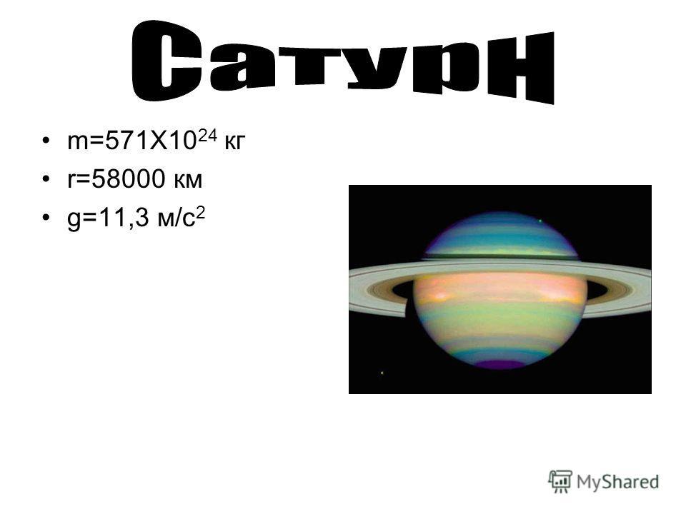 m=571X10 24 кг r=58000 км g=11,3 м/с 2
