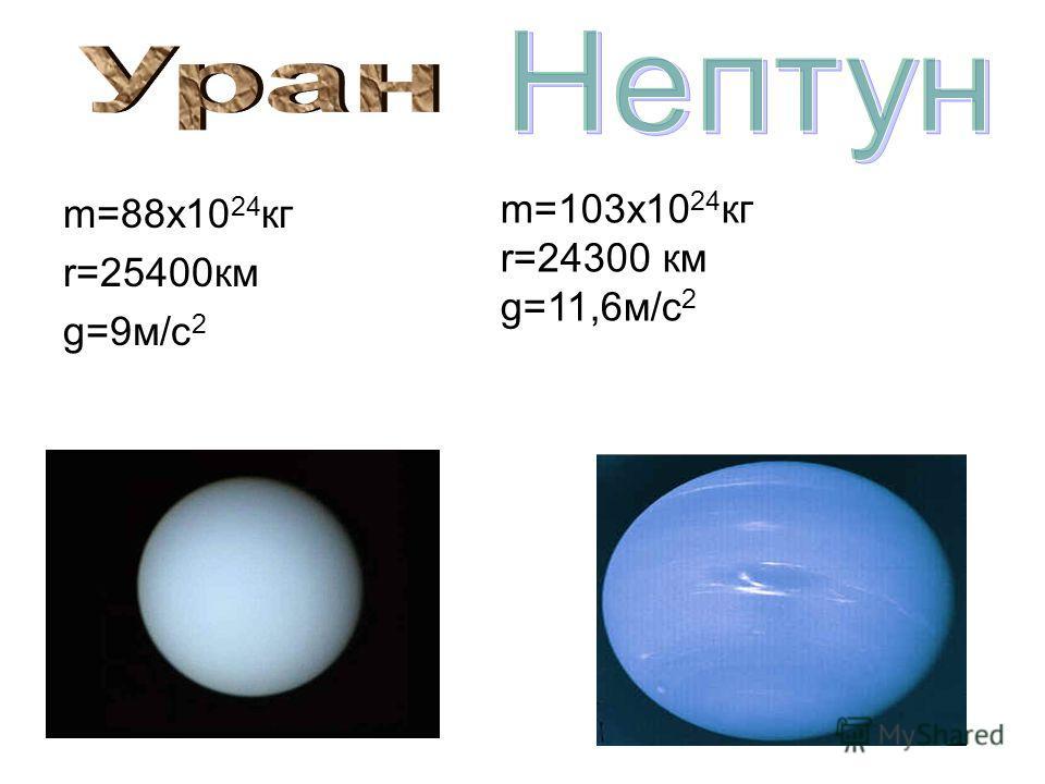 m=88x10 24 кг r=25400км g=9м/с 2 m=103x10 24 кг r=24300 км g=11,6м/с 2