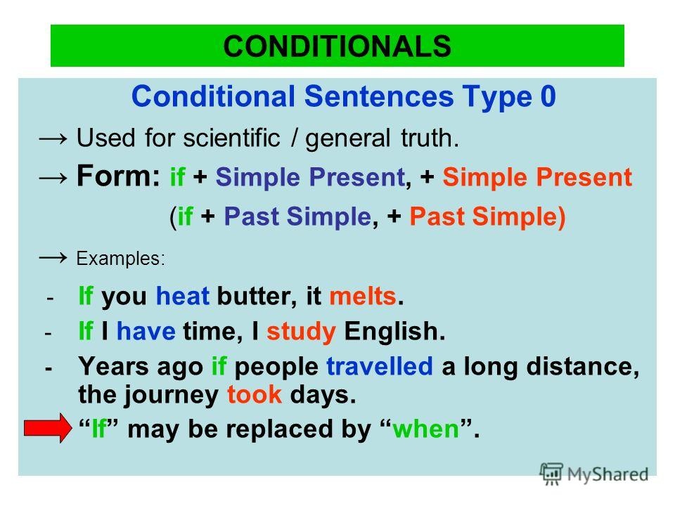 CONDITIONALS Conditional Sentences Type 0 Used for scientific / general truth. Form: if + Simple Present, + Simple Present (if + Past Simple, + Past Simple) Examples: - If you heat butter, it melts. - If I have time, I study English. - Years ago if p