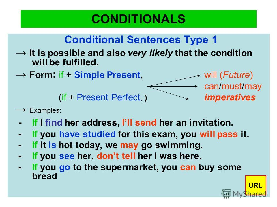 CONDITIONALS Conditional Sentences Type 1 It is possible and also very likely that the condition will be fulfilled. Form : if + Simple Present, will (Future) can/must/may (if + Present Perfect, ) imperatives Examples: - If I find her address, Ill sen