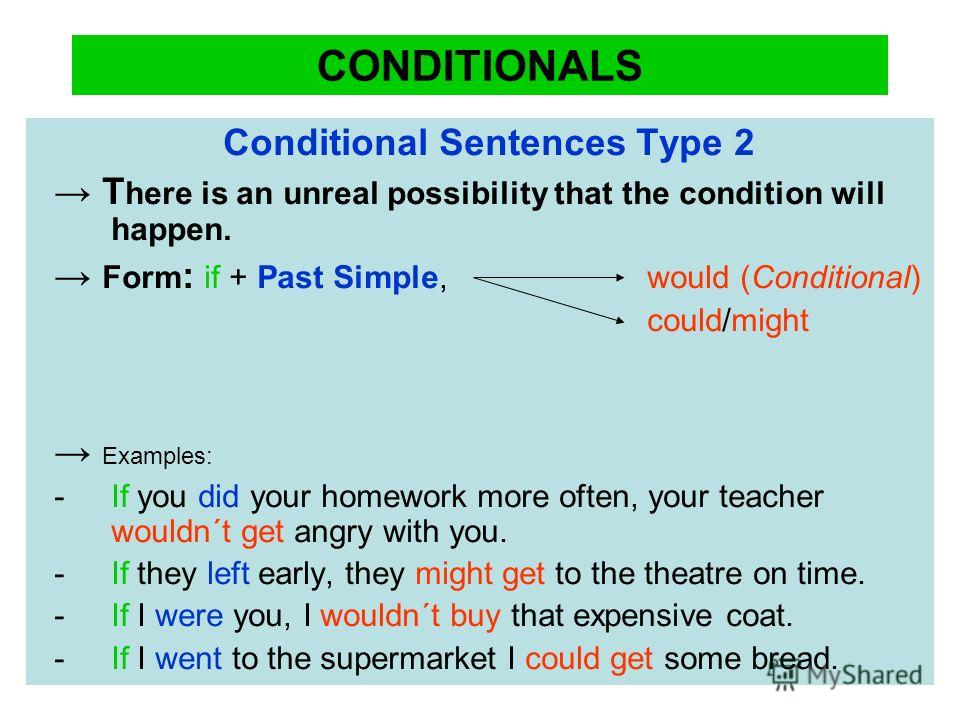 CONDITIONALS Conditional Sentences Type 2 T here is an unreal possibility that the condition will happen. Form : if + Past Simple, would (Conditional) could/might Examples: - If you did your homework more often, your teacher wouldn´t get angry with y