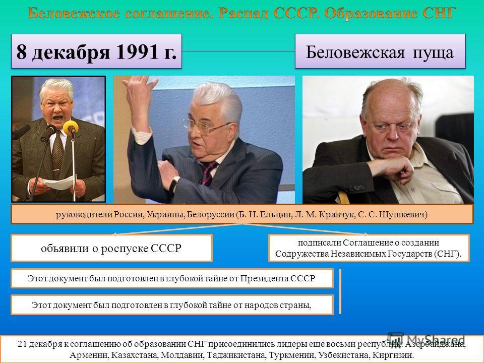21 декабря к соглашению об образовании СНГ присоединились лидеры еще восьми республик: Азербайджана, Армении, Казах  стана, Молдавии, Таджикистана, Туркмении, Узбекистана, Киргизии. 8 декабря 1991 г. Беловежская пуща руководители России, Украины, Бе