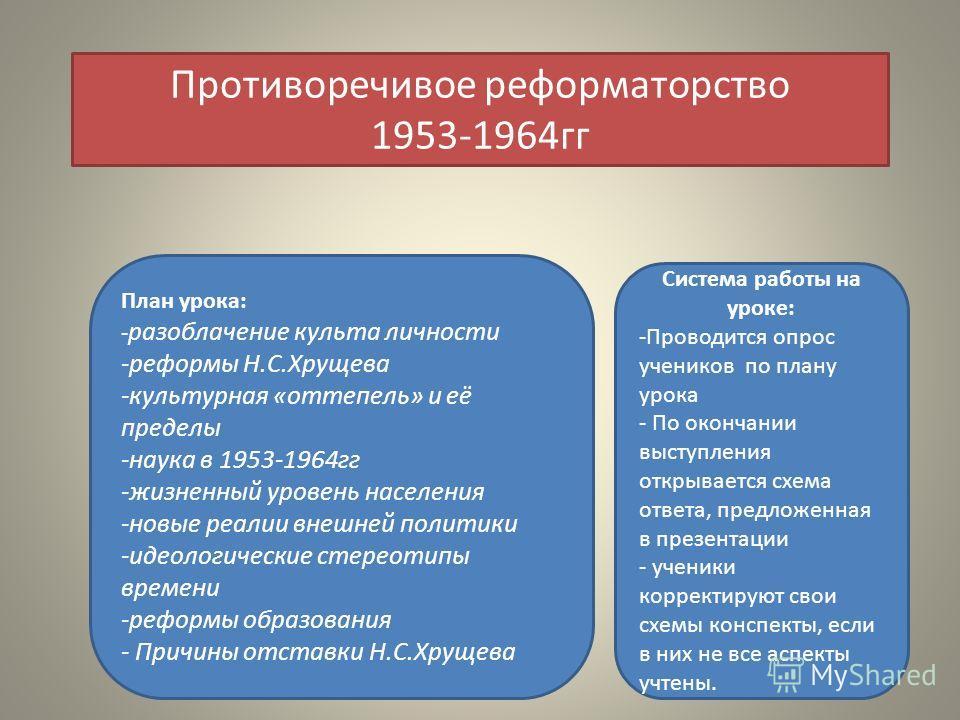 Противоречивое реформаторство 1953-1964гг План урока: - разоблачение культа личности -реформы Н.С.Хрущева -культурная «оттепель» и её пределы -наука в 1953-1964гг -жизненный уровень населения -новые реалии внешней политики -идеологические стереотипы
