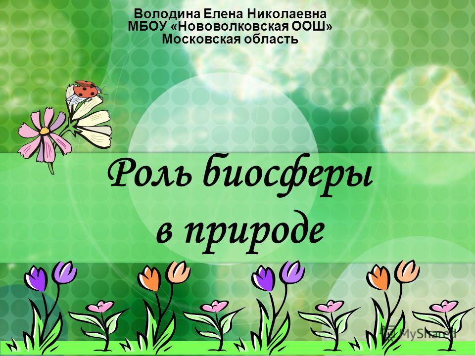 Роль биосферы в природе Володина Елена Николаевна МБОУ «Нововолковская ООШ» Московская область