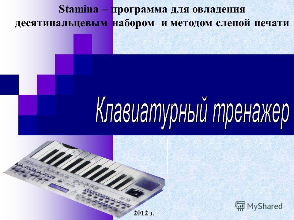 Stamina – программа для овладения десятипальцевым набором и методом слепой печати 2012 г.