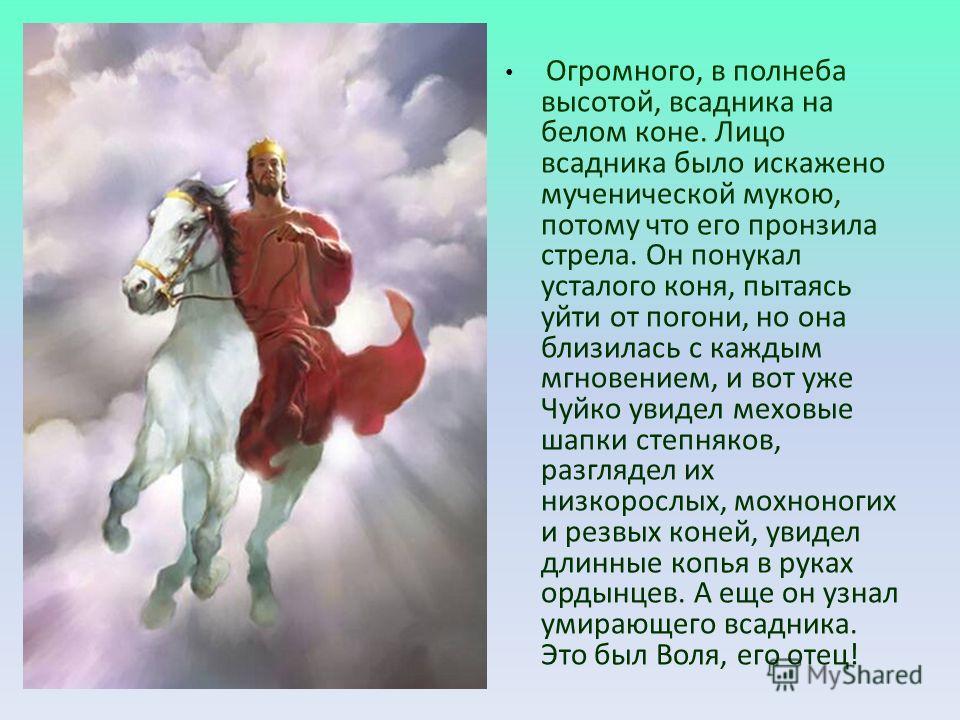 Огромного, в полнеба высотой, всадника на белом коне. Лицо всадника было искажено мученической мукою, потому что его пронзила стрела. Он понукал усталого коня, пытаясь уйти от погони, но она близилась с каждым мгновением, и вот уже Чуйко увидел мехов