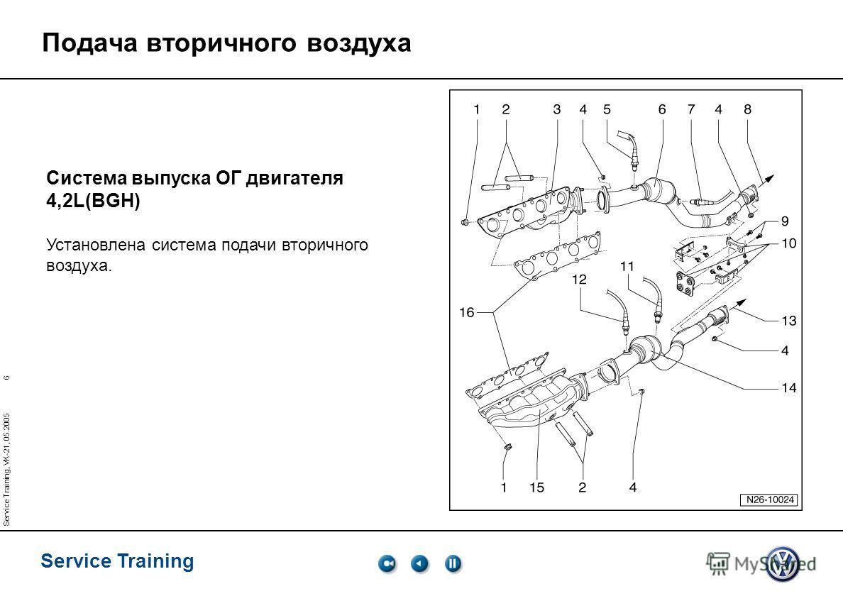 6 Service Training Service Training, VK-21, 05.2005 Подача вторичного воздуха Система выпуска ОГ двигателя 4,2L(BGH) Установлена система подачи вторичного воздуха.