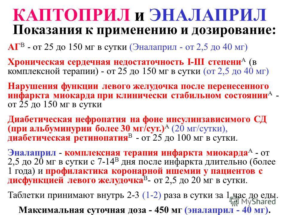 Показания к применению и дозирование: АГ В - от 25 до 150 мг в сутки (Эналаприл - от 2,5 до 40 мг) Хроническая сердечная недостаточность I-III степени А (в комплексной терапии) - от 25 до 150 мг в сутки (от 2,5 до 40 мг) Нарушения функции левого желу