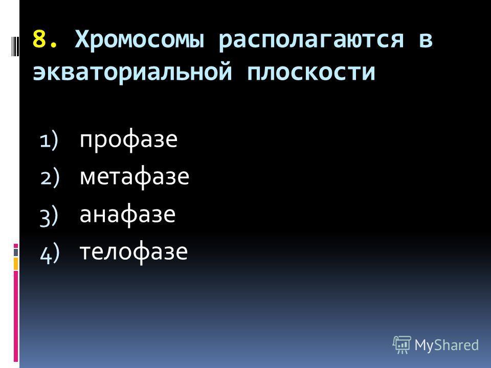 8. Хромосомы располагаются в экваториальной плоскости 1) профазе 2) метафазе 3) анафазе 4) телофазе