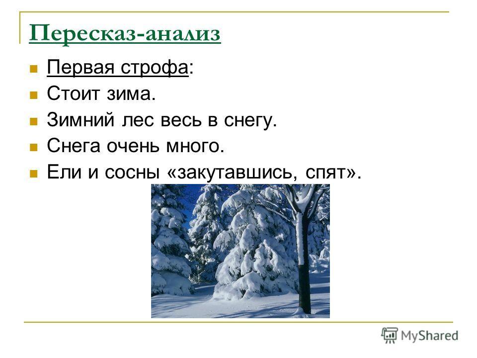 Пересказ-анализ Первая строфа: Стоит зима. Зимний лес весь в снегу. Снега очень много. Ели и сосны «закутавшись, спят».