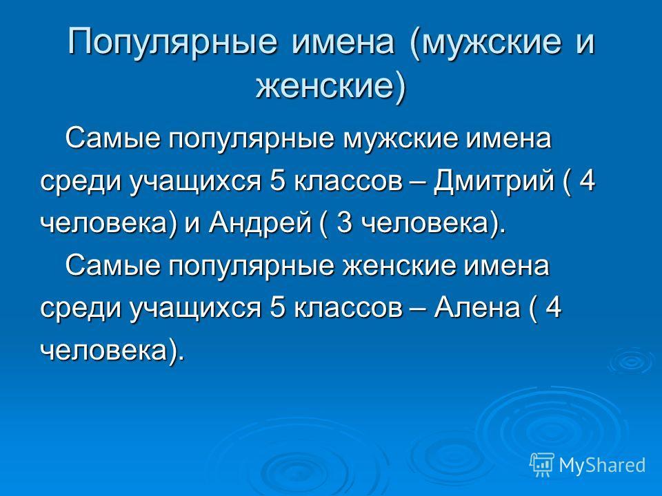 Популярные имена (мужские и женские) Самые популярные мужские имена среди учащихся 5 классов – Дмитрий ( 4 человека) и Андрей ( 3 человека). Самые популярные женские имена среди учащихся 5 классов – Алена ( 4 человека).