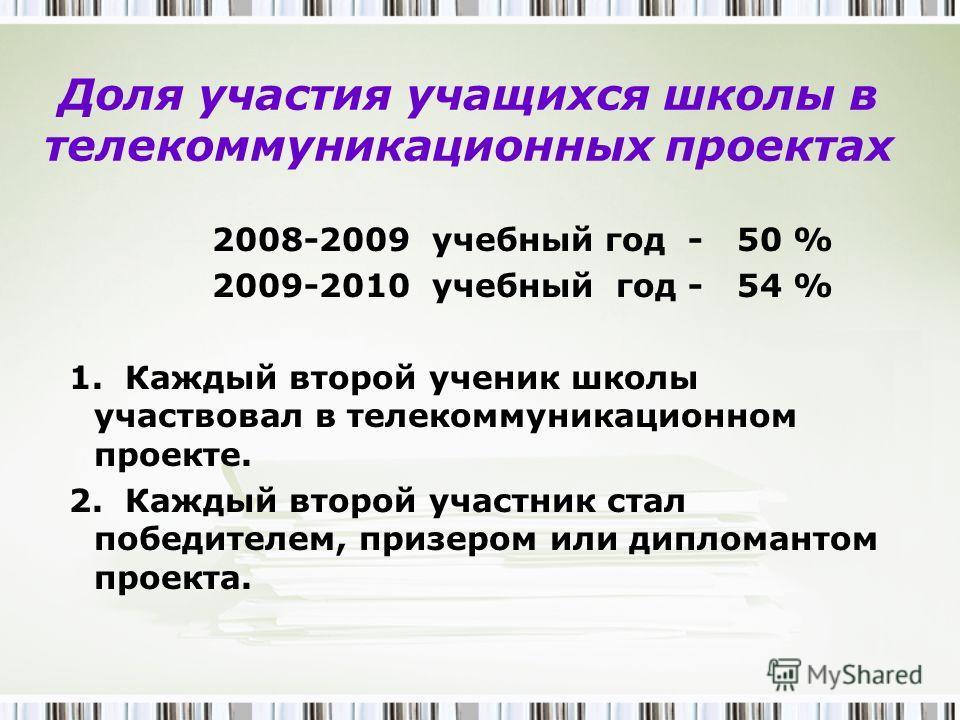 Доля участия учащихся школы в телекоммуникационных проектах 2008-2009 учебный год - 50 % 2009-2010 учебный год - 54 % 1. Каждый второй ученик школы участвовал в телекоммуникационном проекте. 2. Каждый второй участник стал победителем, призером или ди