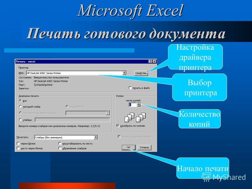 Печать готового документа Настройка драйвера принтера Количество копий Начало печати Выбор принтера Microsoft Excel