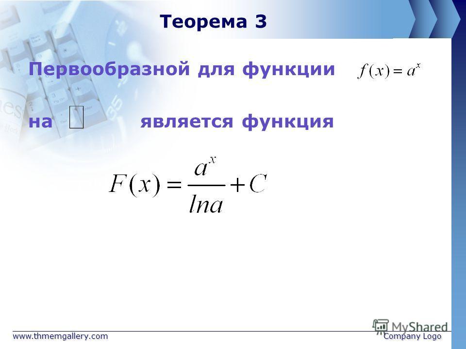 www.thmemgallery.comCompany Logo Теорема 3 Первообразной для функции на является функция