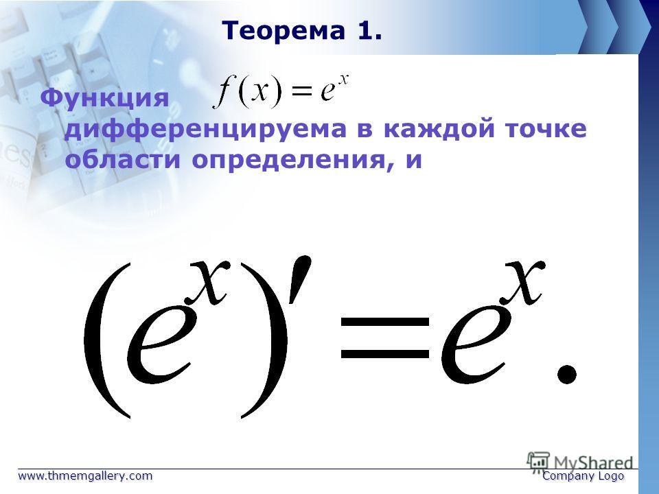 www.thmemgallery.comCompany Logo Теорема 1. Функция дифференцируема в каждой точке области определения, и