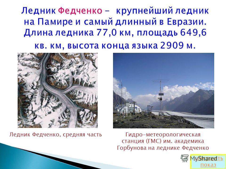 Ледник Федченко, средняя частьГидро-метеорологическая станция (ГМС) им. академика Горбунова на леднике Федченко завершить показ