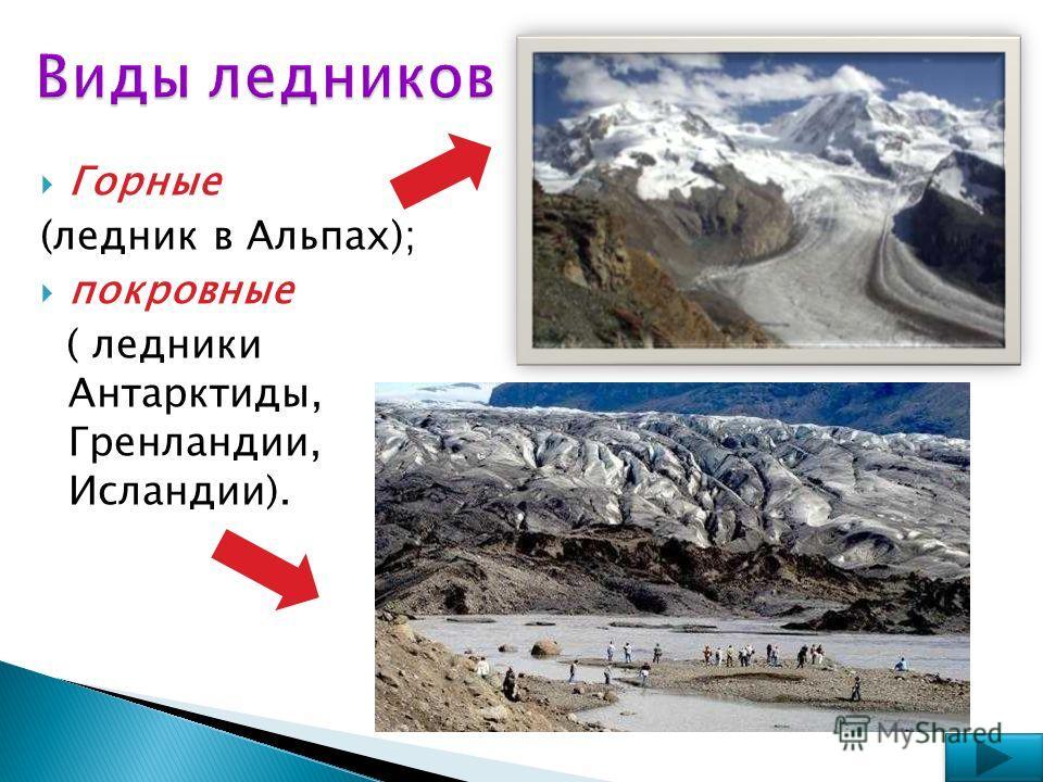Горные (ледник в Альпах); покровные ( ледники Антарктиды, Гренландии, Исландии).