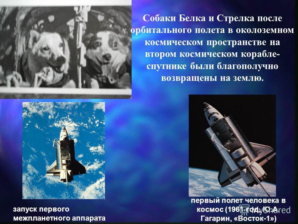 запуск первого межпланетного аппарата (1959 год, «Луна-1») первый полет человека в космос (1961 год, Ю.А. Гагарин, «Восток-1») Собаки Белка и Стрелка после орбитального полета в околоземном космическом пространстве на втором космическом корабле- спут
