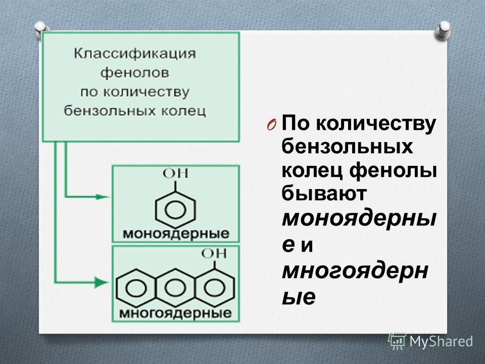 O По количеству бензольных колец фенолы бывают моноядерны е и многоядерн ые