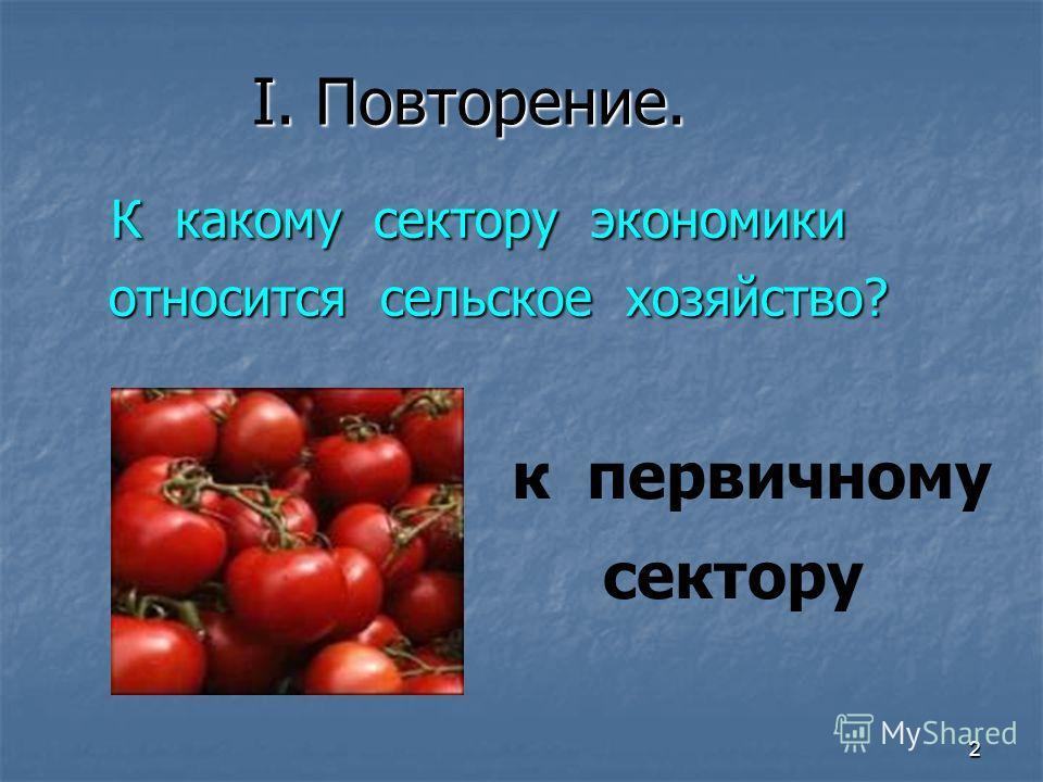 2 I. Повторение. К какому сектору экономики К какому сектору экономики относится сельское хозяйство? относится сельское хозяйство? к первичному сектору