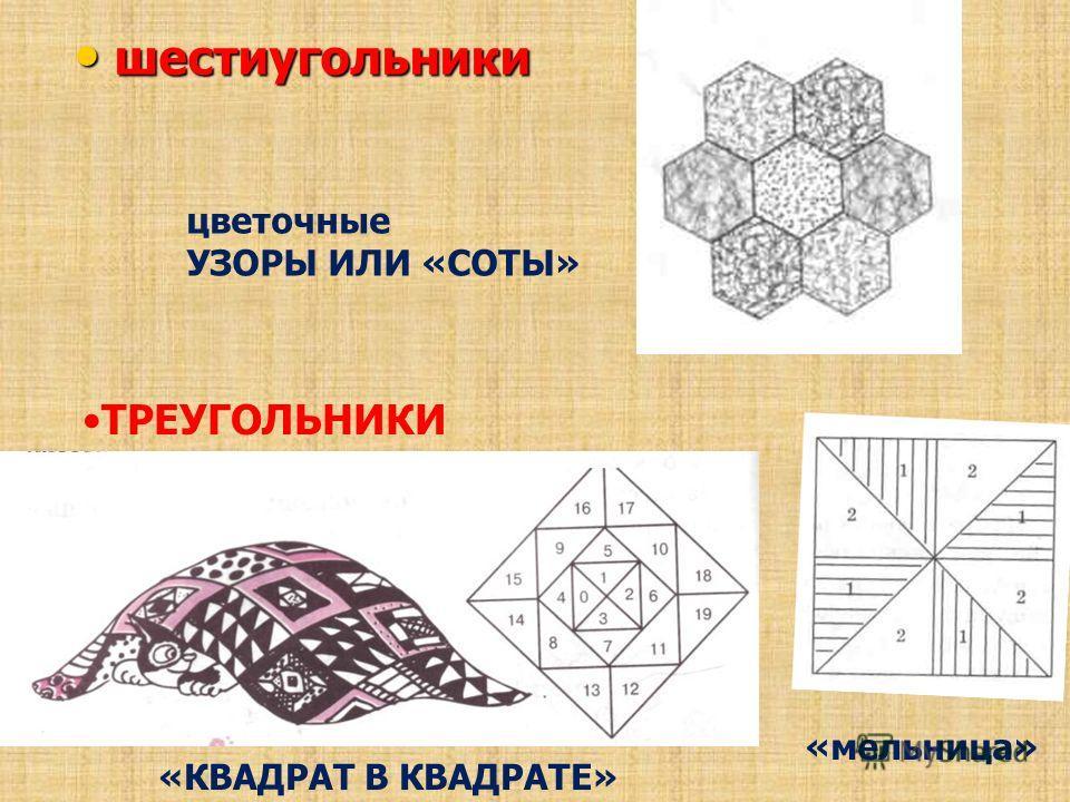 шестиугольники шестиугольники ТРЕУГОЛЬНИКИ «КВАДРАТ В КВАДРАТЕ» цветочные УЗОРЫ ИЛИ «СОТЫ» «мельница»