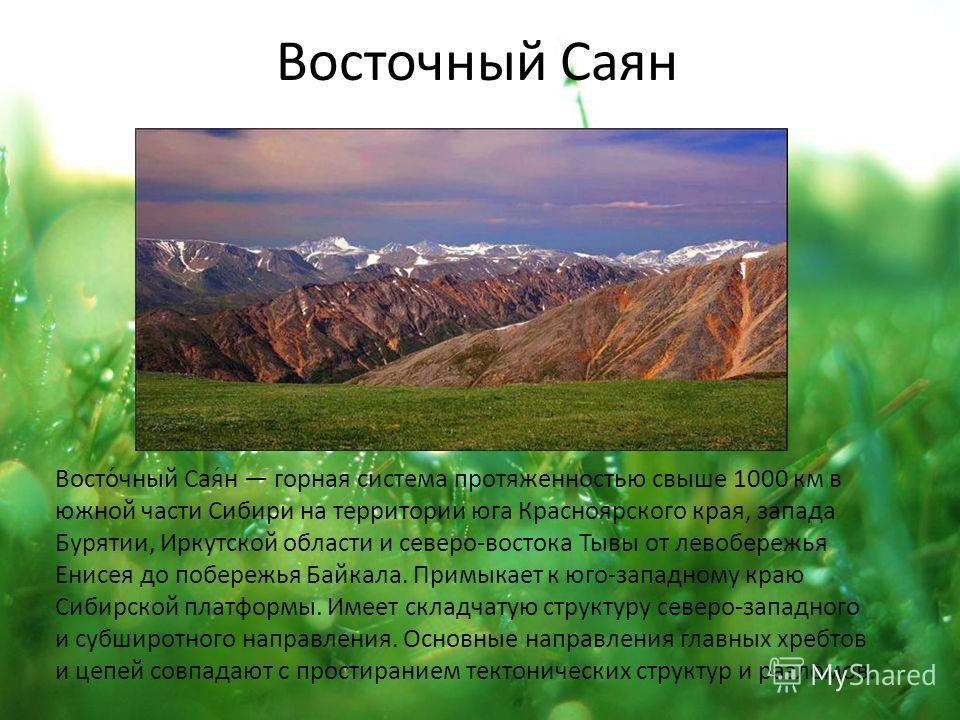 Восточный Саян Восто́чный Сая́н горная система протяженностью свыше 1000 км в южной части Сибири на территории юга Красноярского края, запада Бурятии, Иркутской области и северо-востока Тывы от левобережья Енисея до побережья Байкала. Примыкает к юго