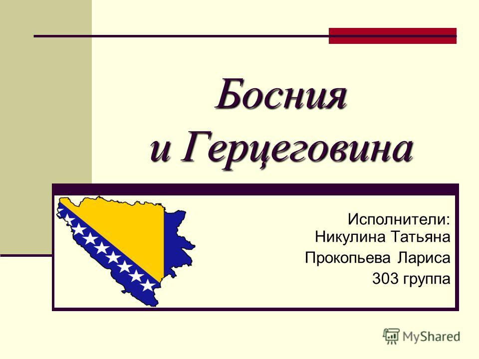 Босния и Герцеговина Исполнители: Никулина Татьяна Прокопьева Лариса 303 группа