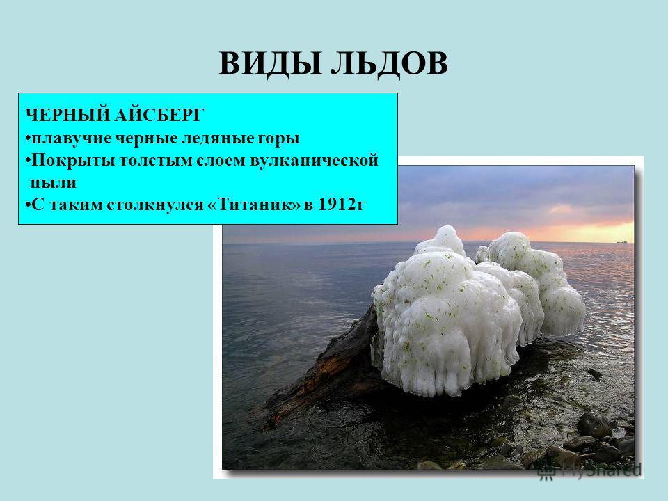 ВИДЫ ЛЬДОВ ЧЕРНЫЙ АЙСБЕРГ плавучие черные ледяные горы Покрыты толстым слоем вулканической пыли С таким столкнулся «Титаник» в 1912г