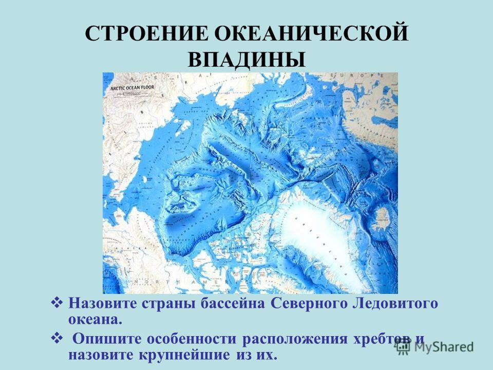 СТРОЕНИЕ ОКЕАНИЧЕСКОЙ ВПАДИНЫ Назовите страны бассейна Северного Ледовитого океана. Опишите особенности расположения хребтов и назовите крупнейшие из их.