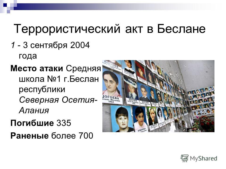 Террористический акт в Беслане 1 - 3 сентября 2004 года Место атаки Средняя школа 1 г.Беслан республики Северная Осетия- Алания Погибшие 335 Раненые более 700