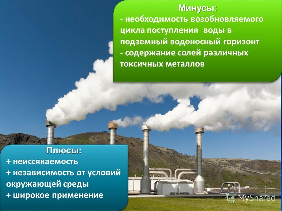 Плюсы: + неиссякаемость + независимость от условий окружающей среды + широкое применениеПлюсы: + неиссякаемость + независимость от условий окружающей среды + широкое применениеМинусы: - необходимость возобновляемого цикла поступления воды в подземный