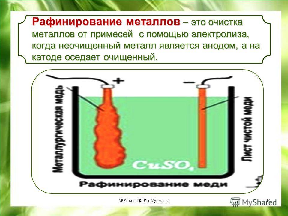 Электрометаллургия – это получение чистых металлов (Al, Na, Mg, Be) при электролизе расплавленных руд. Электрометаллургия – это получение чистых металлов (Al, Na, Mg, Be) при электролизе расплавленных руд. МОУ сош 31 г.Мурманск15