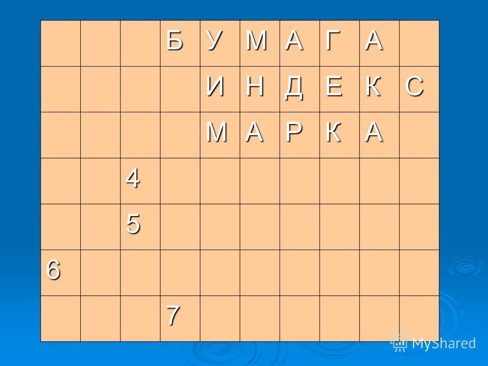 БУМАГА ИНДЕКС МАРКА 4 5 6 7