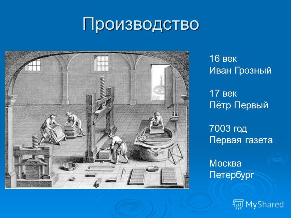 Производство 16 век Иван Грозный 17 век Пётр Первый 7003 год Первая газета Москва Петербург