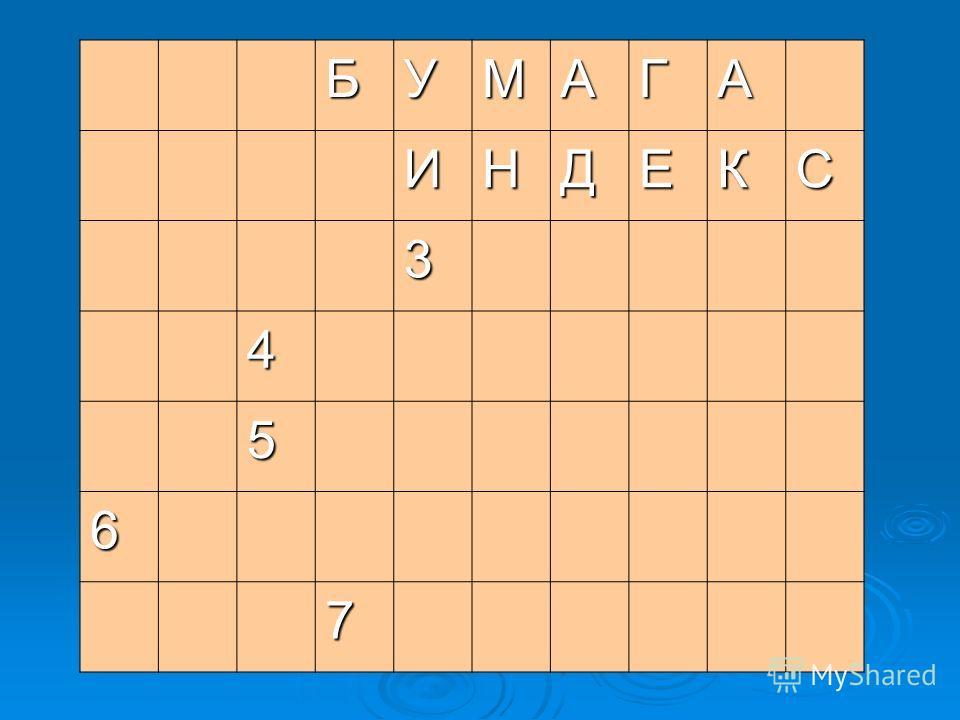 БУМАГА ИНДЕКС 3 4 5 6 7