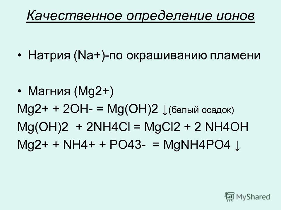 Качественное определение ионов Натрия (Na+)-по окрашиванию пламени Магния (Mg2+) Mg2+ + 2OH- = Mg(OH)2 (белый осадок) Mg(OH)2 + 2NH4Cl = MgCl2 + 2 NH4OH Mg2+ + NH4+ + PO43- = MgNН4PO4