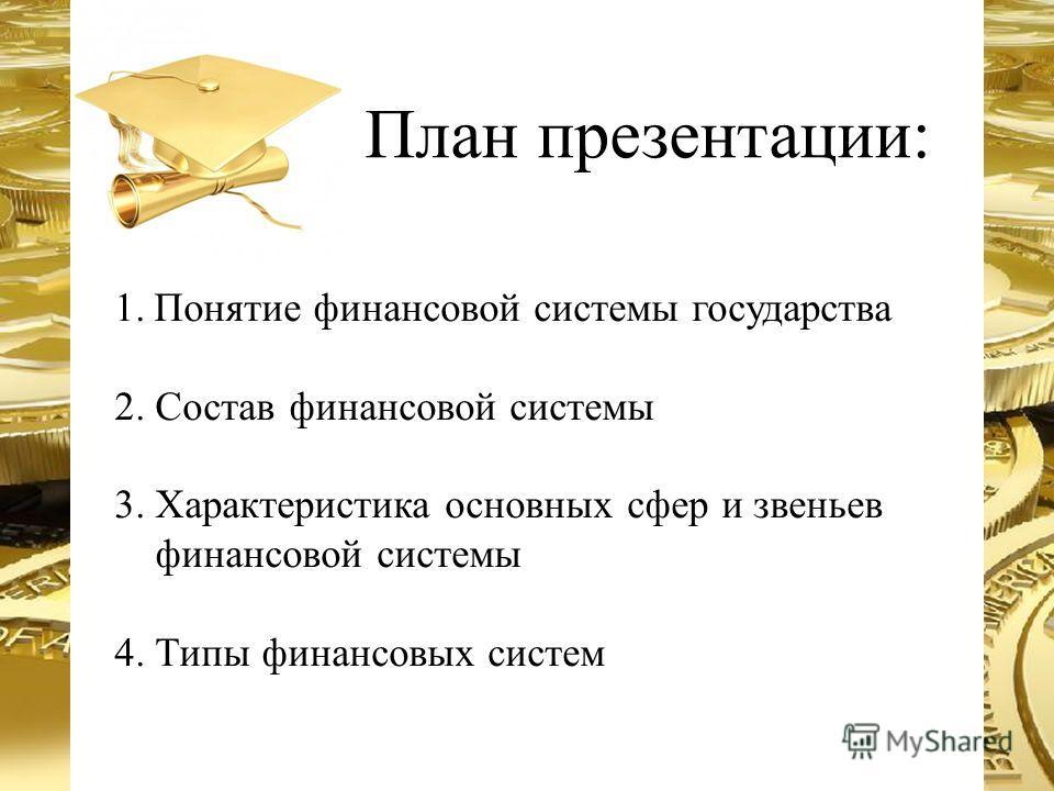 План презентации: 1.Понятие финансовой системы государства 2. Состав финансовой системы 3. Характеристика основных сфер и звеньев финансовой системы 4. Типы финансовых систем