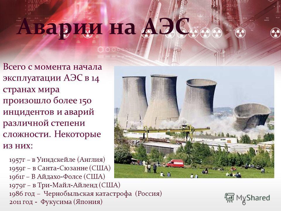 Аварии на АЭС Всего с момента начала эксплуатации АЭС в 14 странах мира произошло более 150 инцидентов и аварий различной степени сложности. Некоторые из них: 1957г – в Уиндскейле (Англия) 1959г – в Санта-Сюзанне (США) 1961г – В Айдахо-Фолсе (США) 19