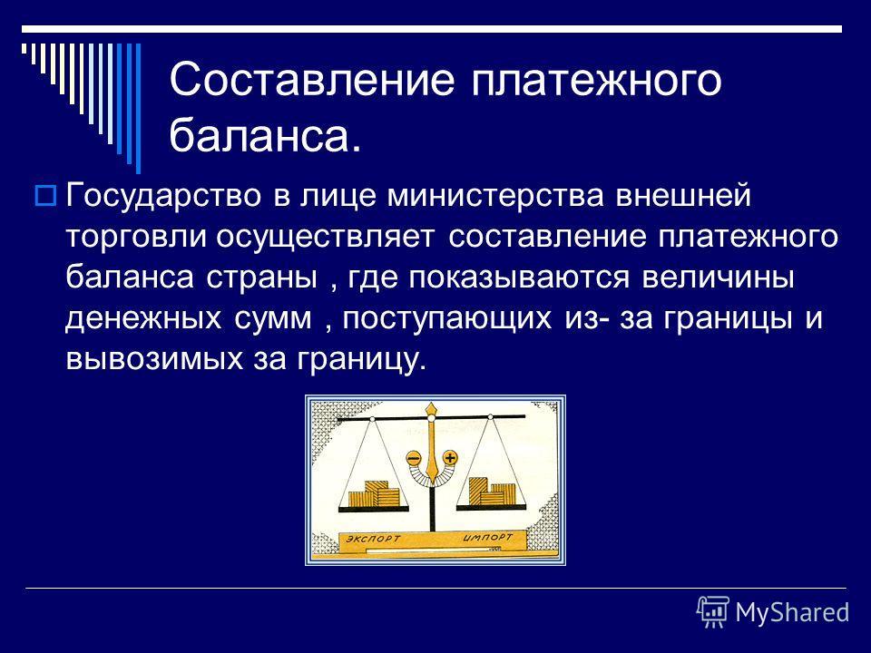 Составление платежного баланса. Государство в лице министерства внешней торговли осуществляет составление платежного баланса страны, где показываются величины денежных сумм, поступающих из- за границы и вывозимых за границу.