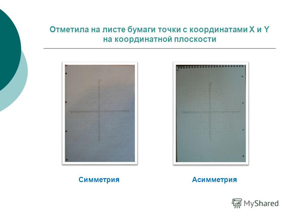 Отметила на листе бумаги точки с координатами X и Y на координатной плоскости Симметрия Асимметрия