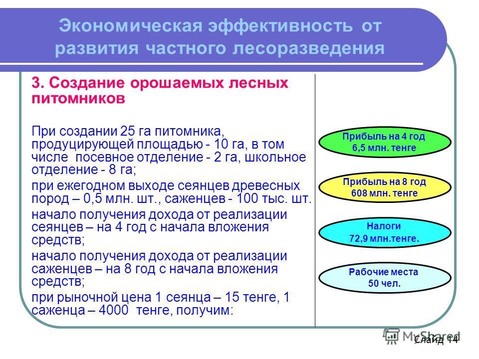 Экономическая эффективность от развития частного лесоразведения 3. Создание орошаемых лесных питомников При создании 25 га питомника, продуцирующей площадью - 10 га, в том числе посевное отделение - 2 га, школьное отделение - 8 га; при ежегодном выхо
